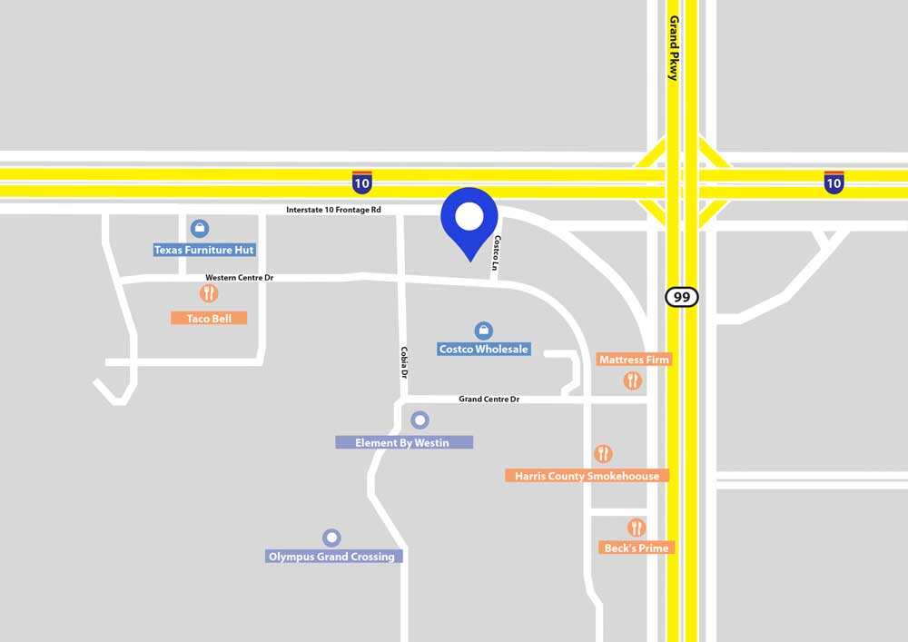 Map Showing Location of My Star Orthodontics in Katy Texas with a blue pin and locations of some neighboring business