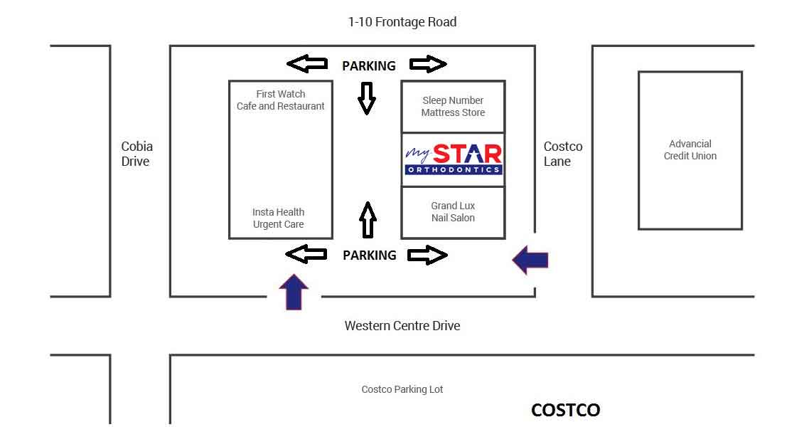 Parking Map diagram for new patients of My Star Orthodontics in Katy Texas