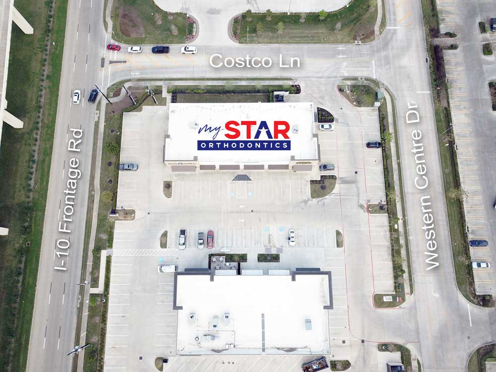 aerial photo showing parking lot of my star orthodontics in Katy TX and surrounding roads for directions